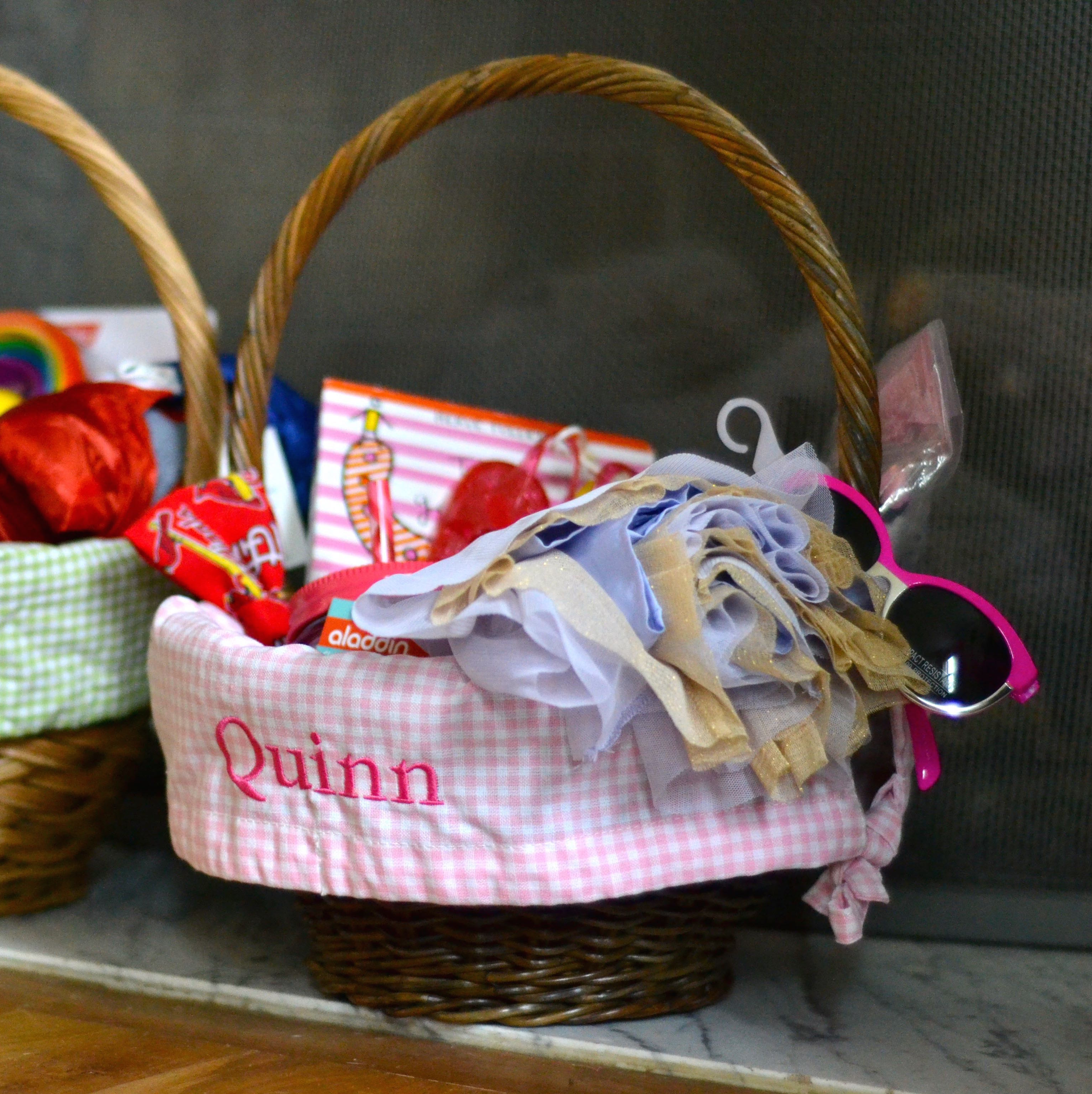 pottery barn small easter baskets with gingham lining