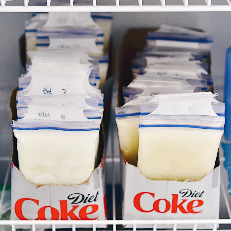 the best way to store breastmilk - use a 12 pack soda box and store breastmilk upright, sorted by date or amount