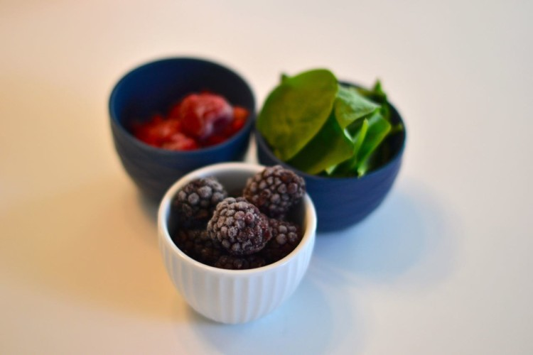 frozen fruits and spinach