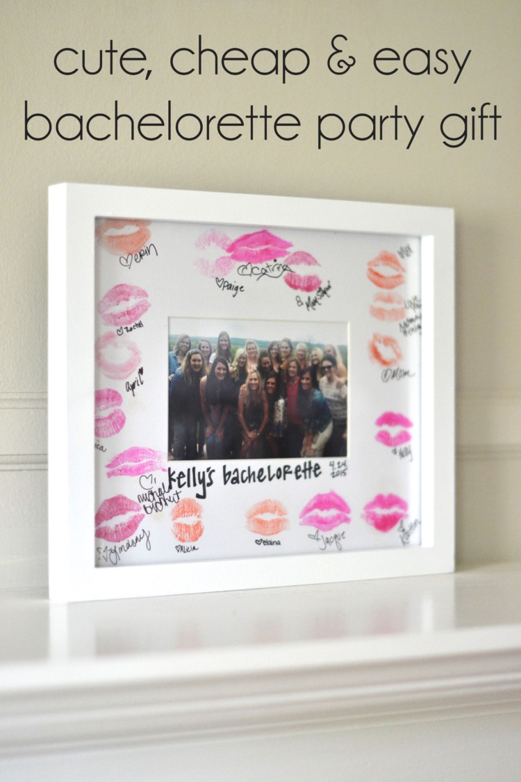 all the bachelorette party attendees kiss a picture frame mat + sign their names - super cute keepsake for the bride