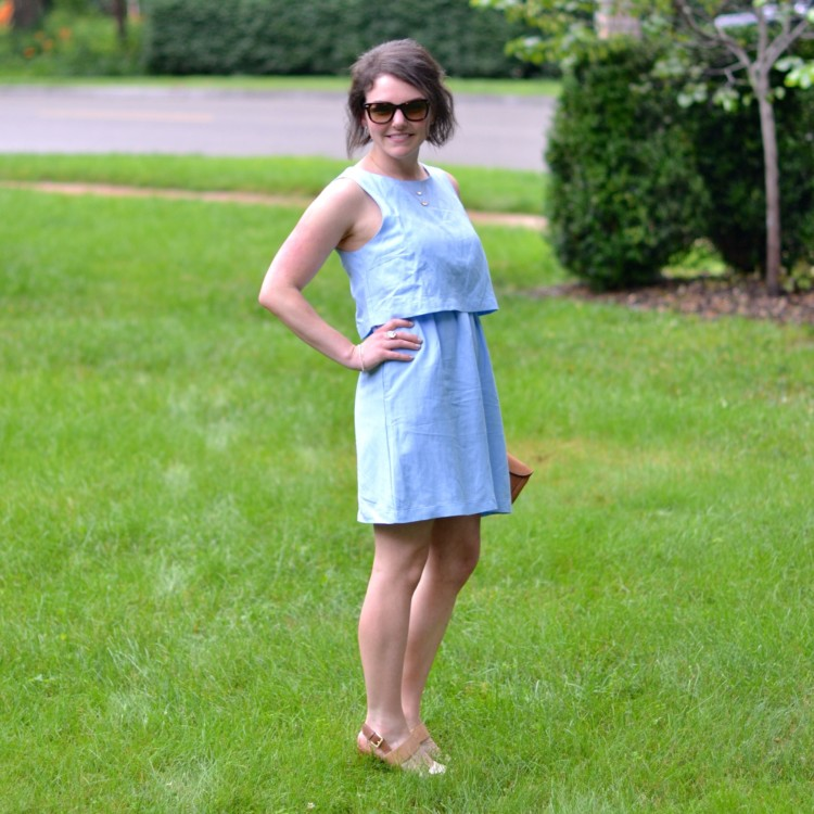 blue layered dress