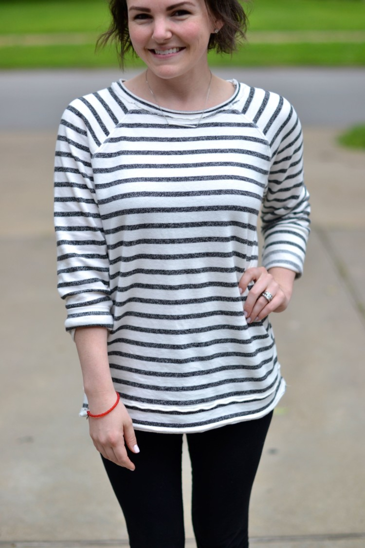 cozy and comfy in a striped tunic top & leggings