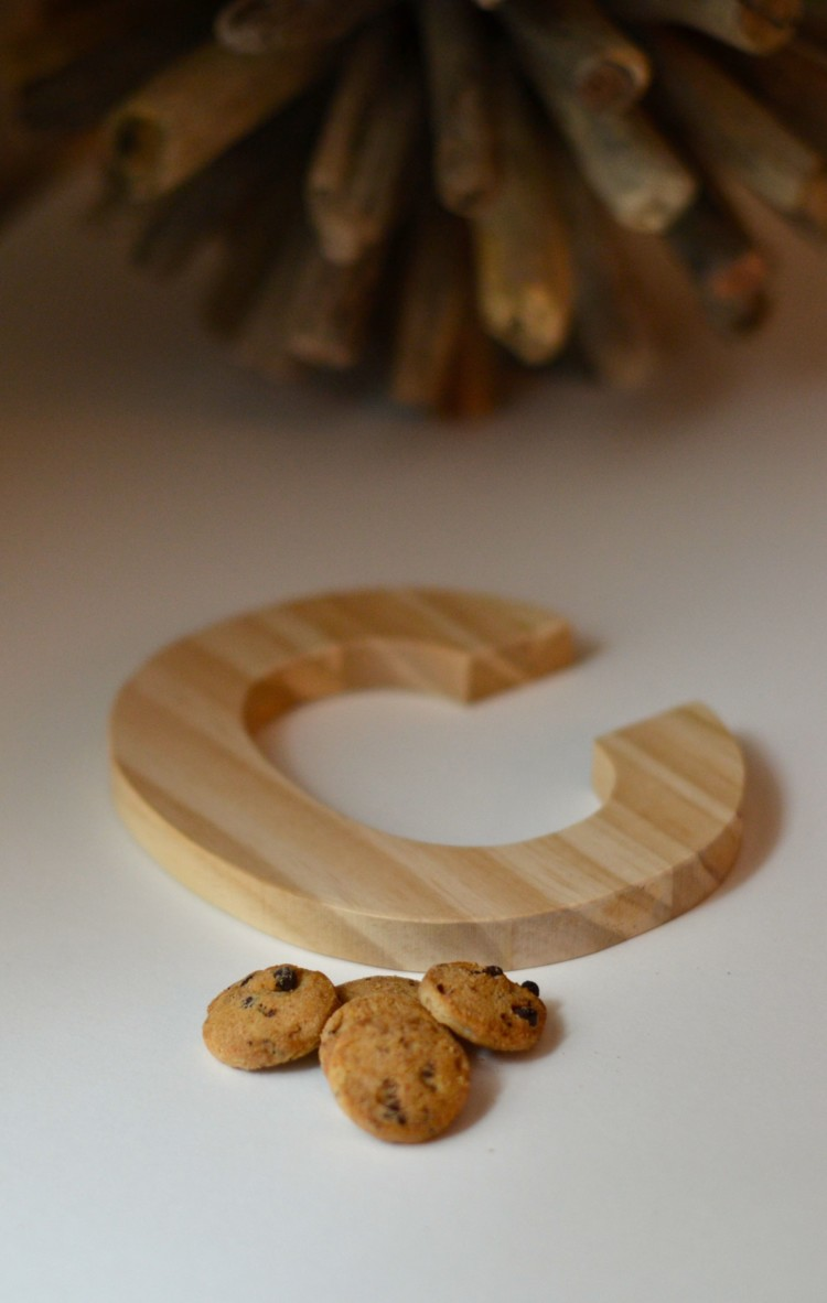 cute little initial decoration for a milk & cookies themed birthday party