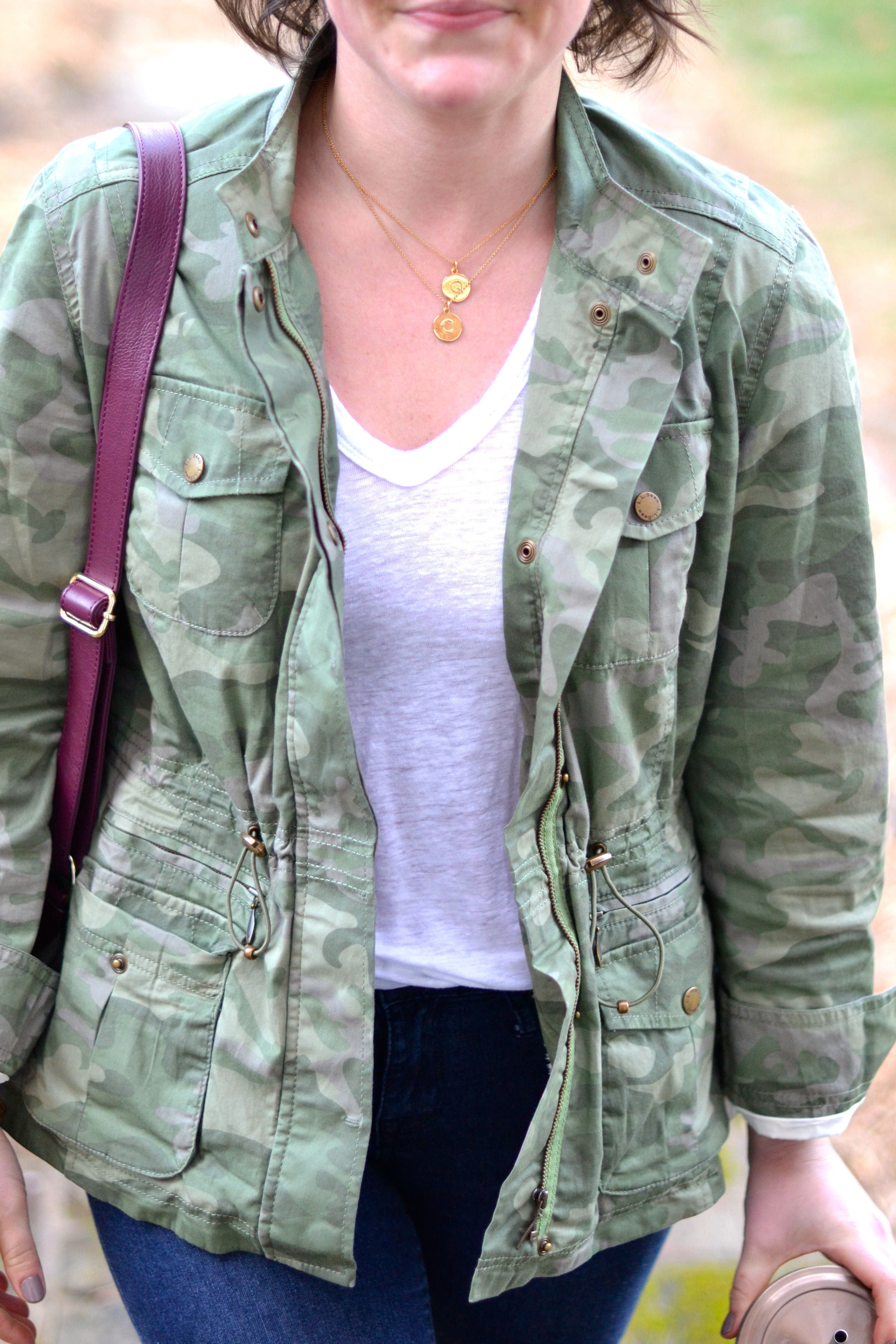 cute gold necklaces and a white tee topped off with a camo jacket // lovelyluckylife.com