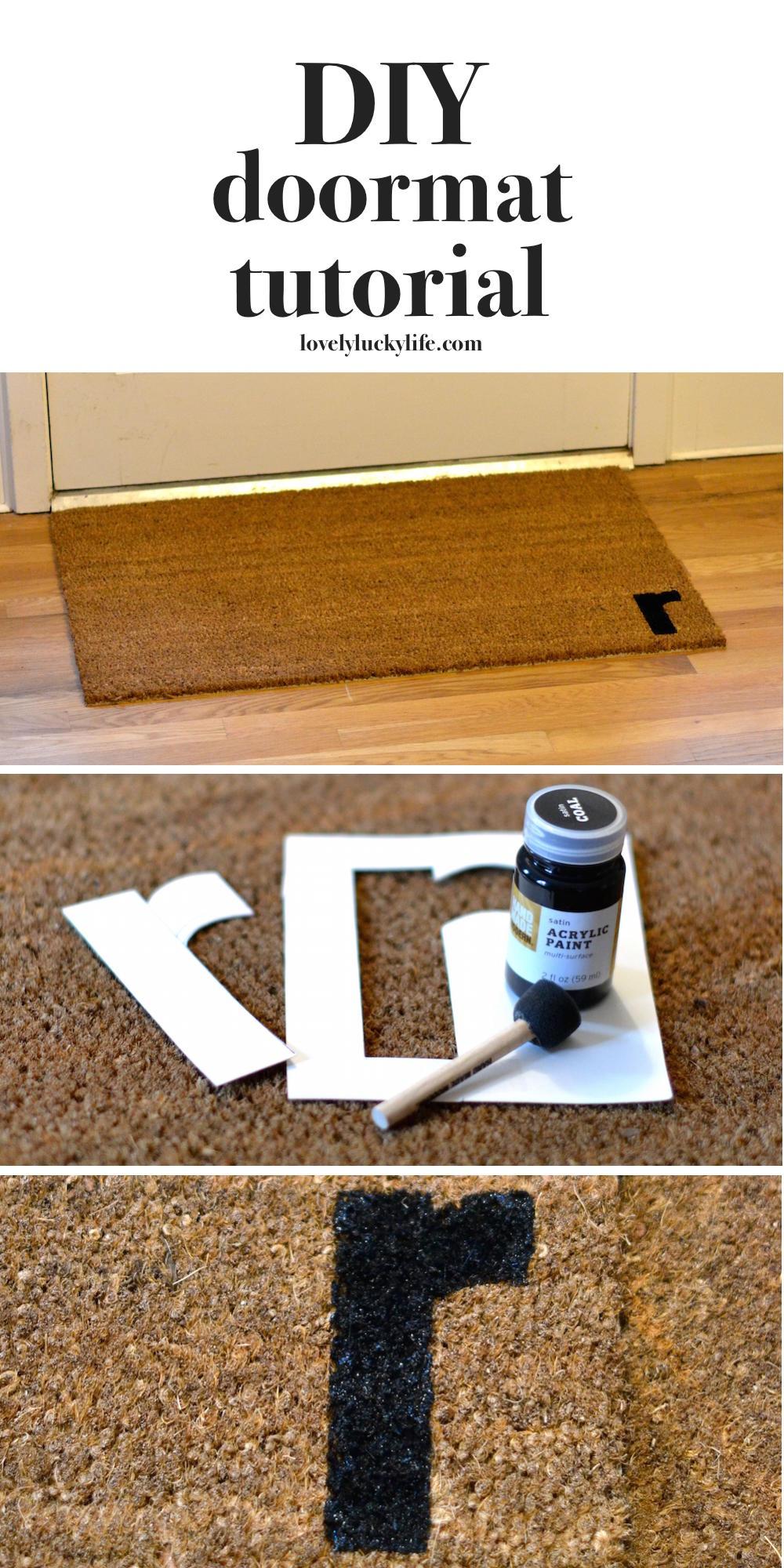 DIY custom initial doormat how-to // lovelyluckylife.com