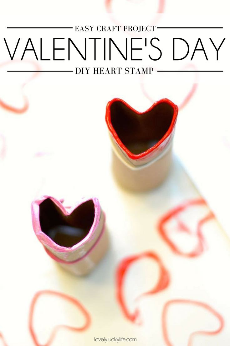 easy DIY Valentine's Day craft for preschoolers - make a toilet paper roll craft to create stamp hearts