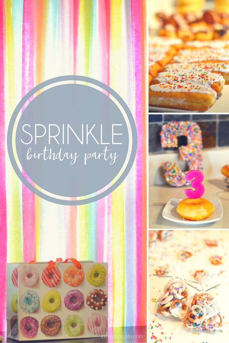 love this idea for a kids birthday party! serve donuts and decorate with a colorful sprinkle theme - would be great for a baby sprinkle too