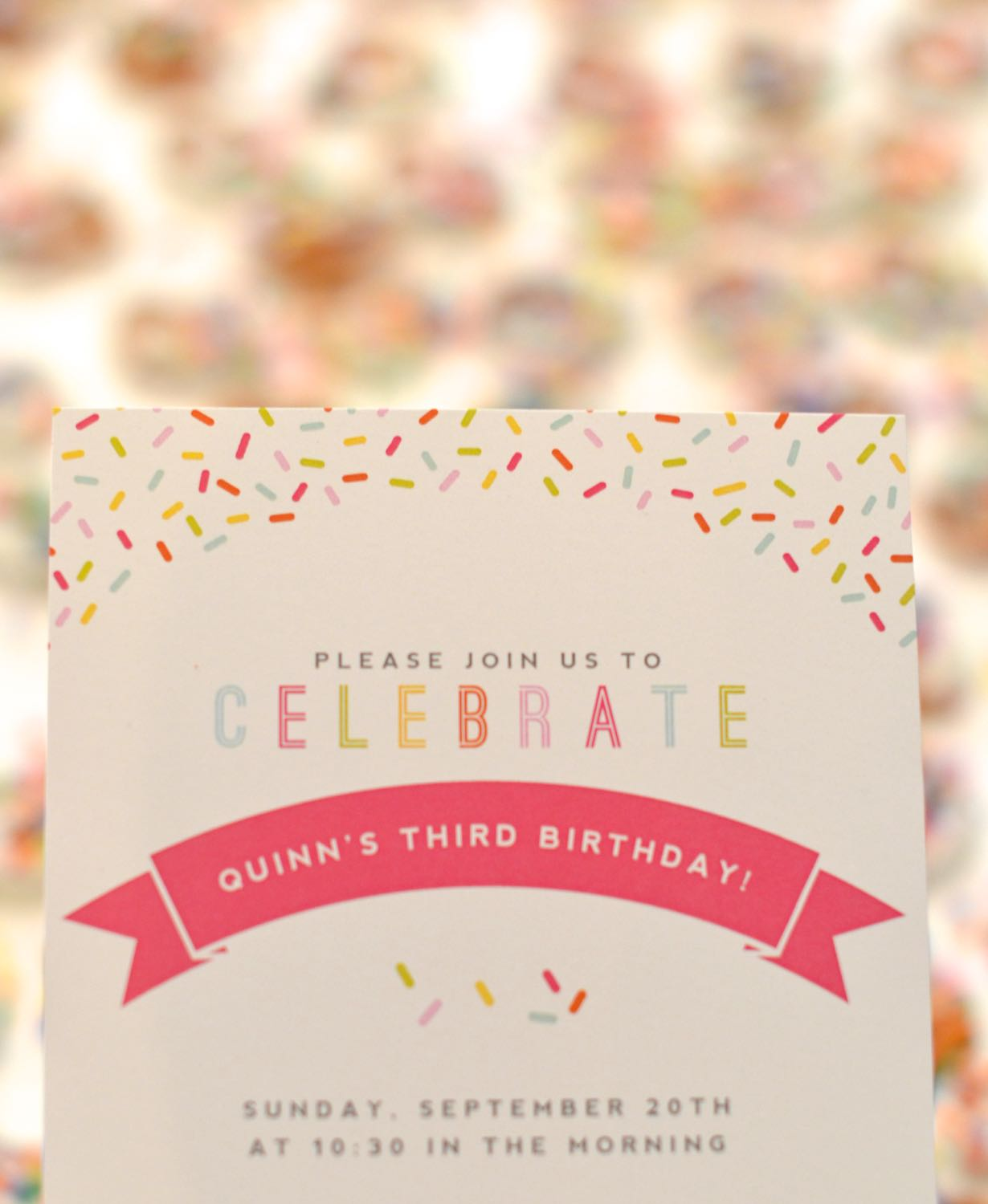 sprinkle invitation for a sprinkle birthday party // lovelyluckylife.com