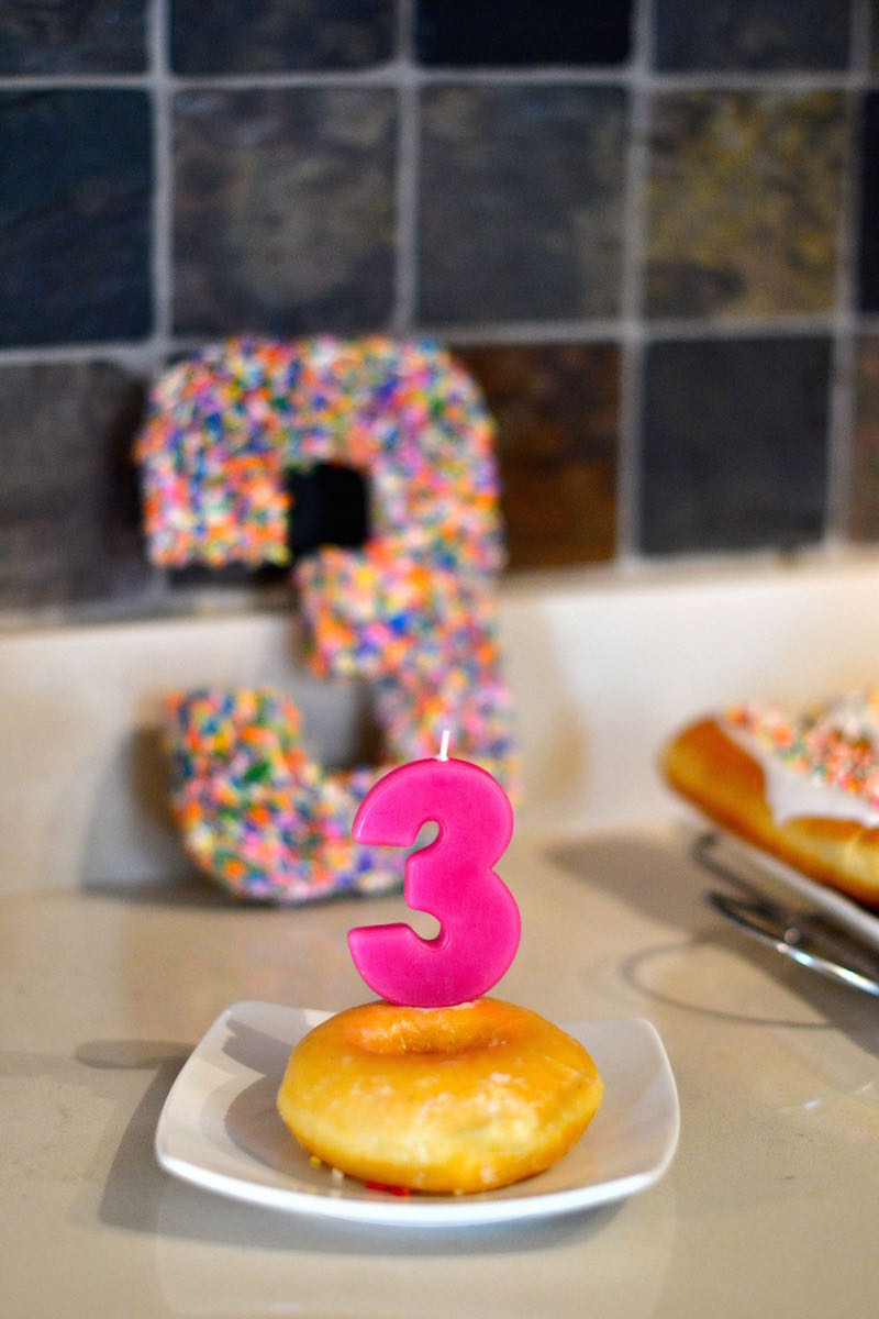 Sprinkle Birthday Party ideas - candle in a donut // lovelyluckylife.com