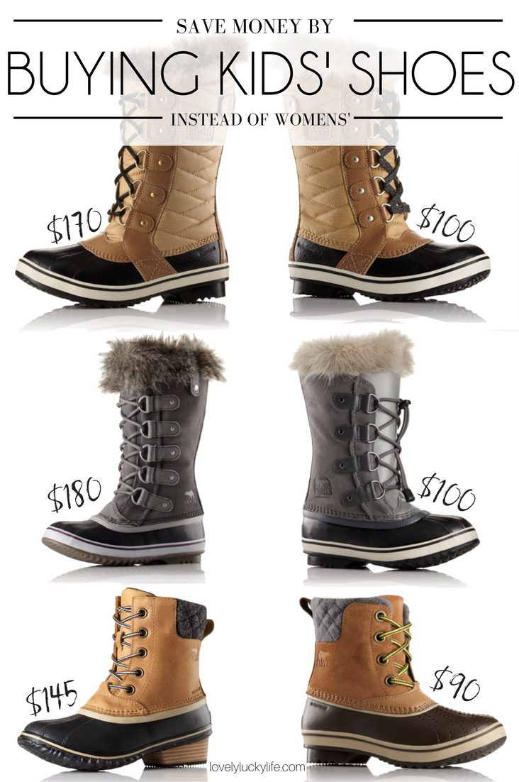 this will change the way you shoe shop - score Sorel Boots for Under $100 by buying kids' sizes instead of womens'! just subtract 1.5 or 2 from your shoe size to figure out your youth shoe size