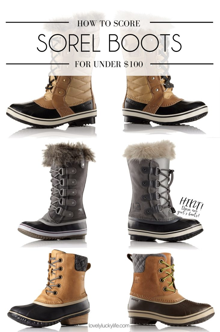here's the secret to scoring Sorel boots for almost half the price - shop girls instead of womens! convert girls sizes to womens by adding 1.5 or 2