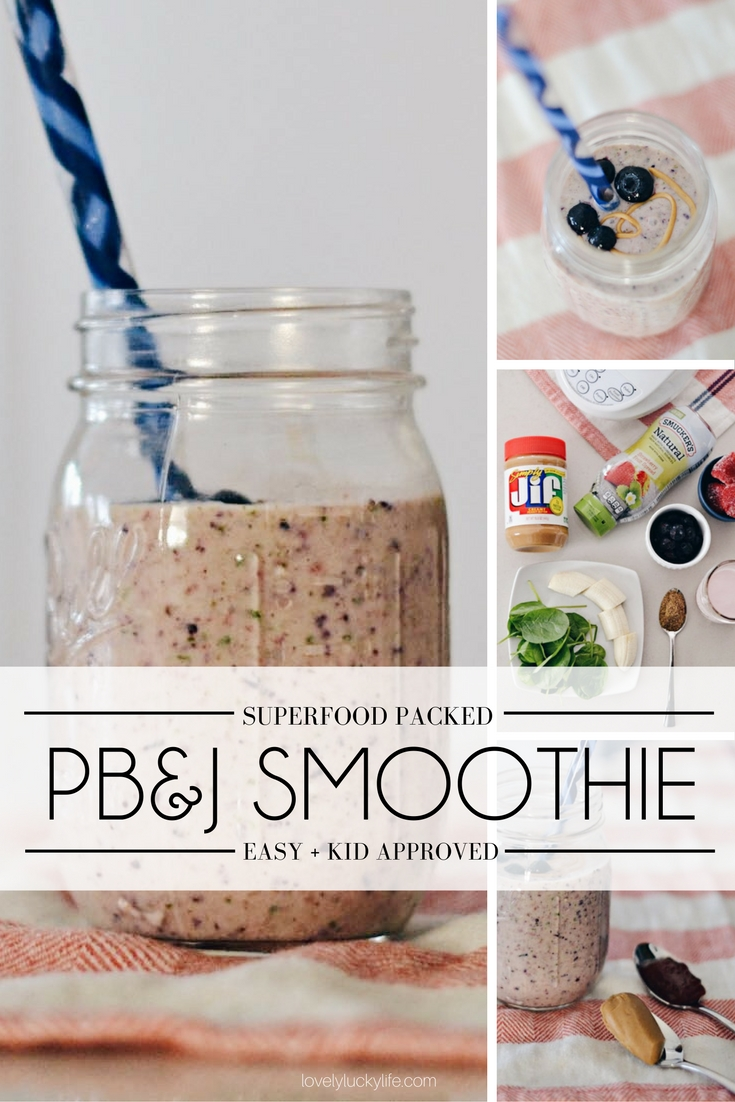 easy peanut butter and jelly smoothie - thick, creamy, and healthy smoothie that tastes just like a peanut butter and jelly sandwich but healthier because it's a total superfood smoothie!