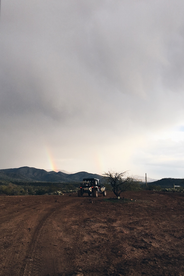double rainbow in the desert