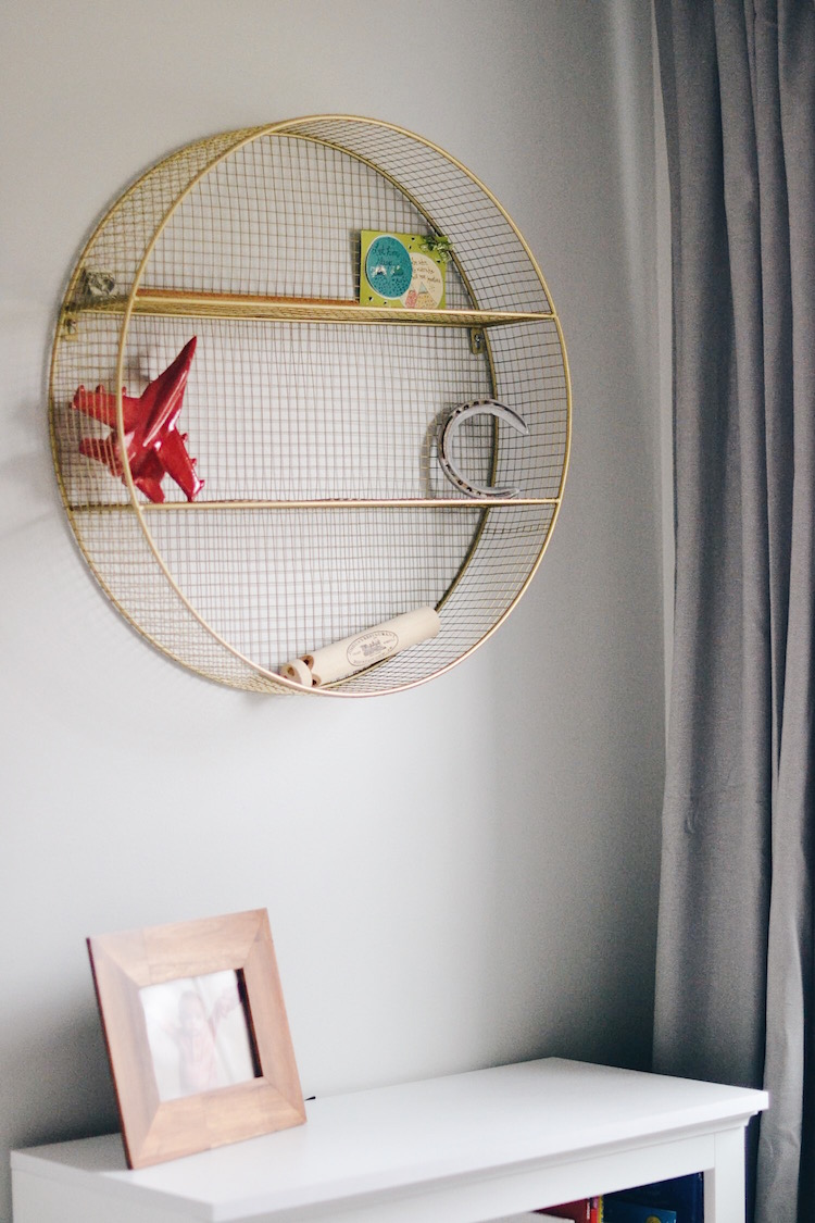 gold circle wire shelf - perfect wall decor for a kid's room
