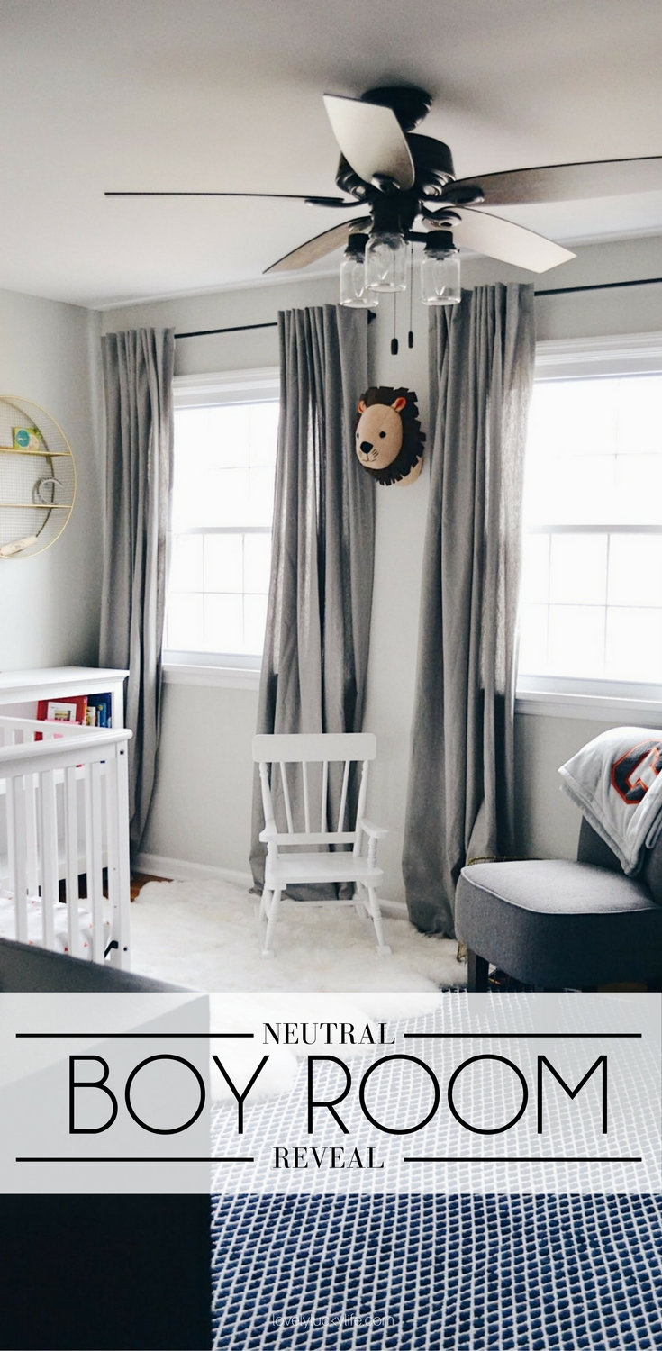 great boy room decor - grey boy's room with varsity accents. would be great as a boy nursery or big boy room. love the industrial inspired ceiling fan and the grey curtains