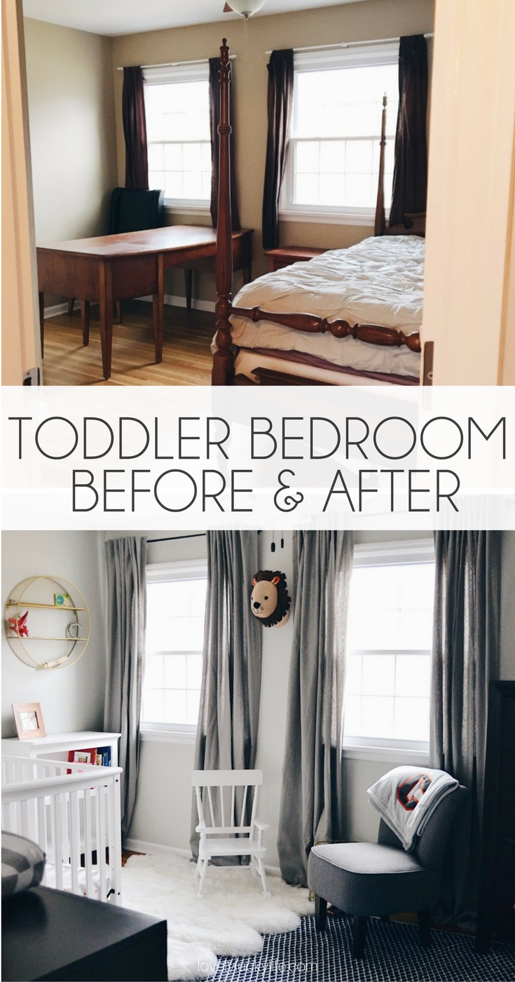 a simple paint job, ceiling fan change, new curtains and this guest room was transformed into a neutral, sophisticated toddler boy bedroom