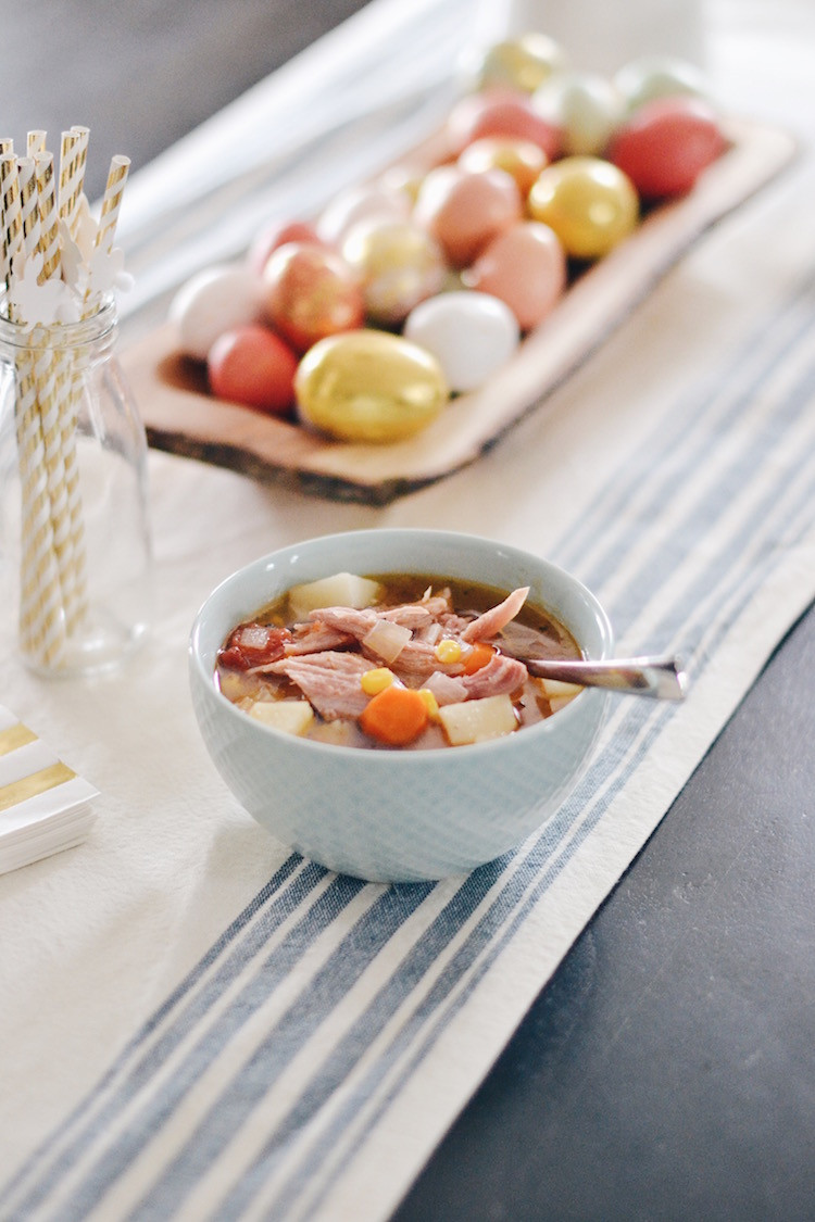 the easiest and tastiest slow cooker hambone soup recipe - perfect for leftover ham!