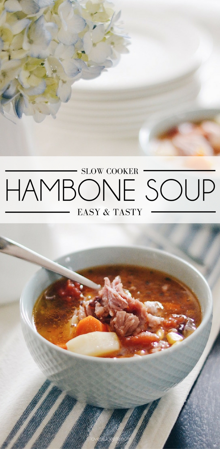 the easiest and tastiest crockpot ham bone soup recipe - perfect for leftover ham!