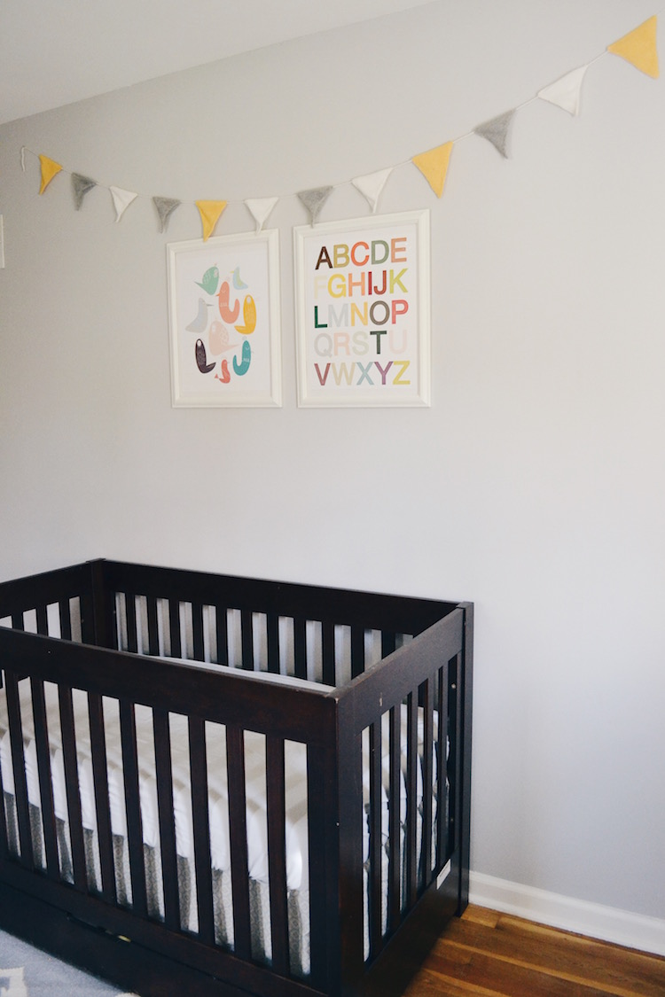 bird + alphabet wall art + classic bunting garland. classic, gender neutral nursery - great for a boy nursery or girl nursery. greys, blues and a touch of soft yellow make this a great neutral baby room