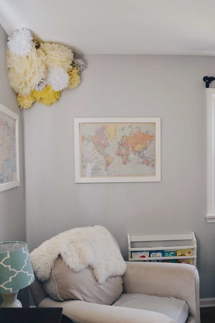 every nursery needs a great glider - classic, gender neutral nursery - great for a boy nursery or girl nursery. greys, blues and a touch of soft yellow make this a great neutral baby room