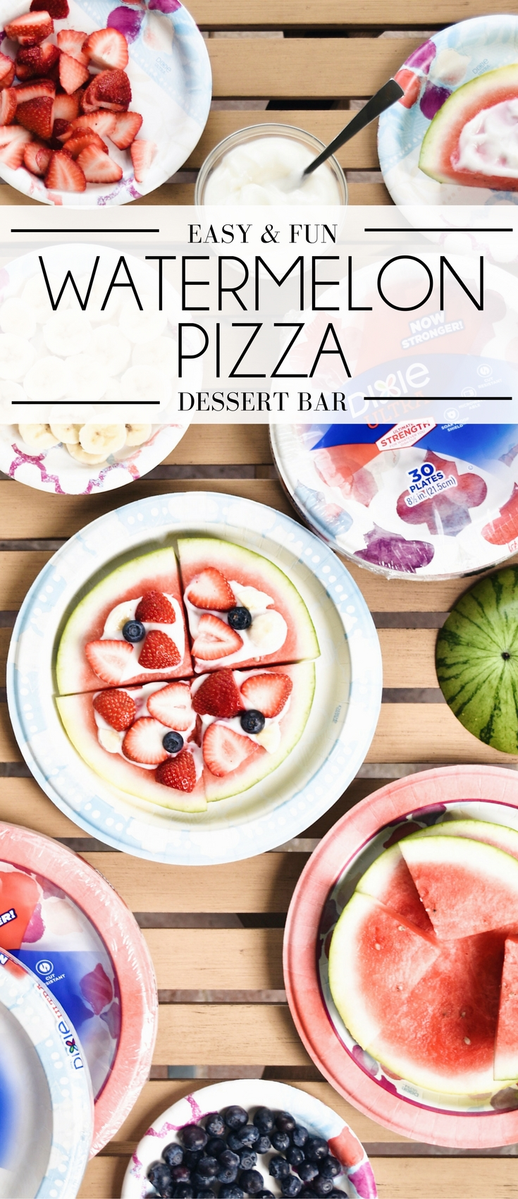 watermelon pizza bar - let the kids make watermelon pizza with fresh berries and vanilla yogurt. the perfect healthy dessert for summer nights!