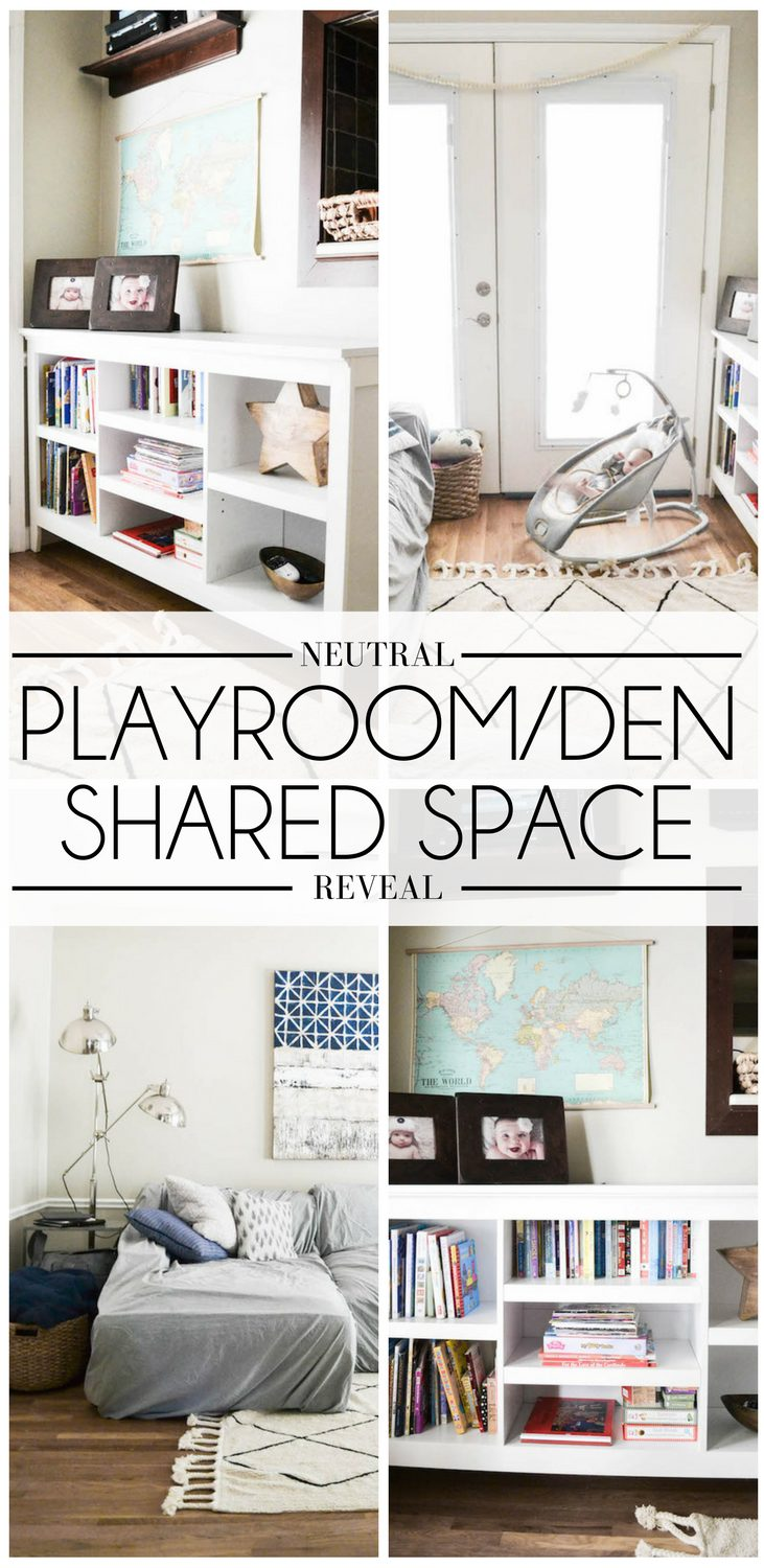 a shared playroom and den - love the neutral decor that's fun for kids but not too child-like. great neutral den for a family home