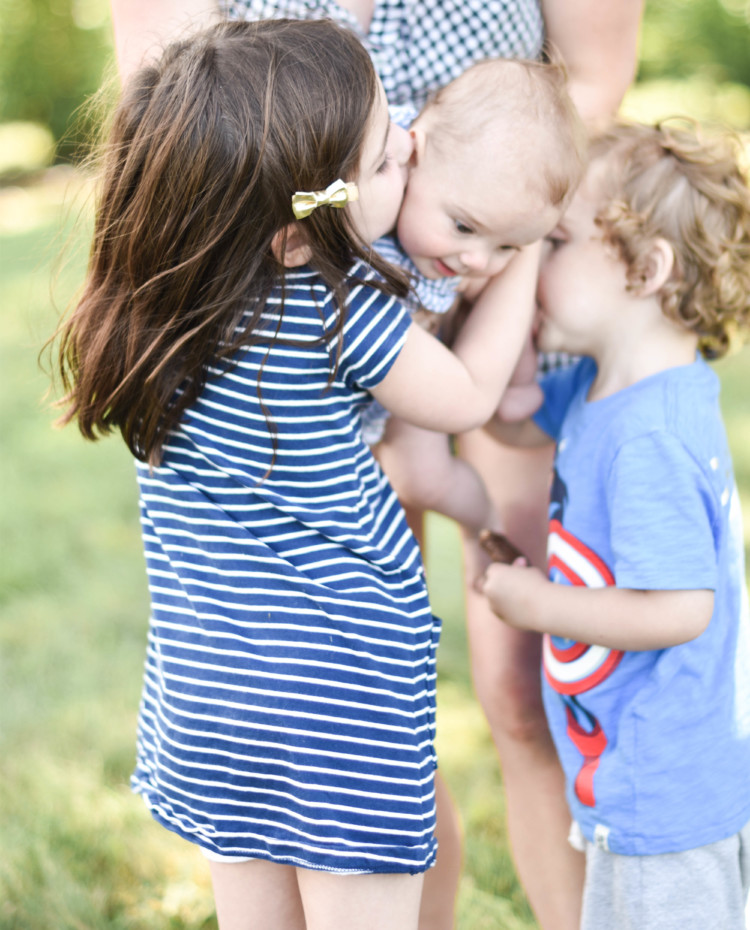 the cutest blue and white outfits for little kids - navy striped dress and blue tee shirt
