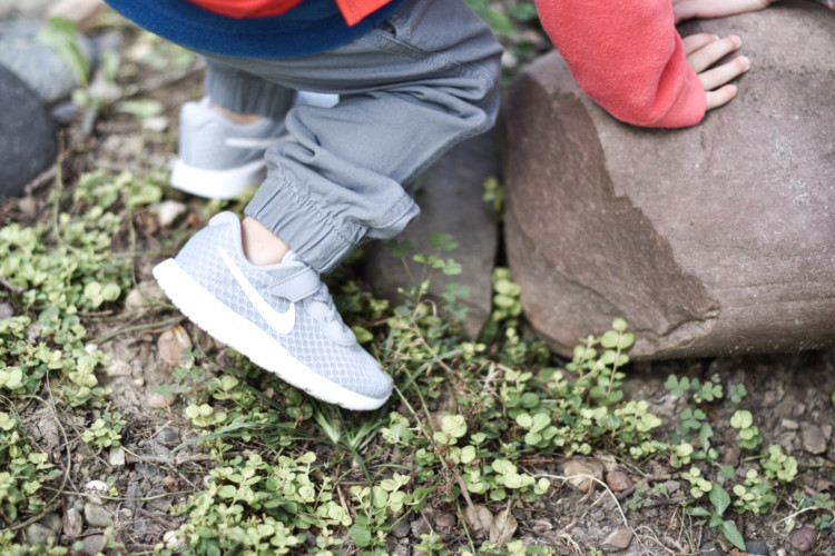 little grey Nike sneakers for toddlers