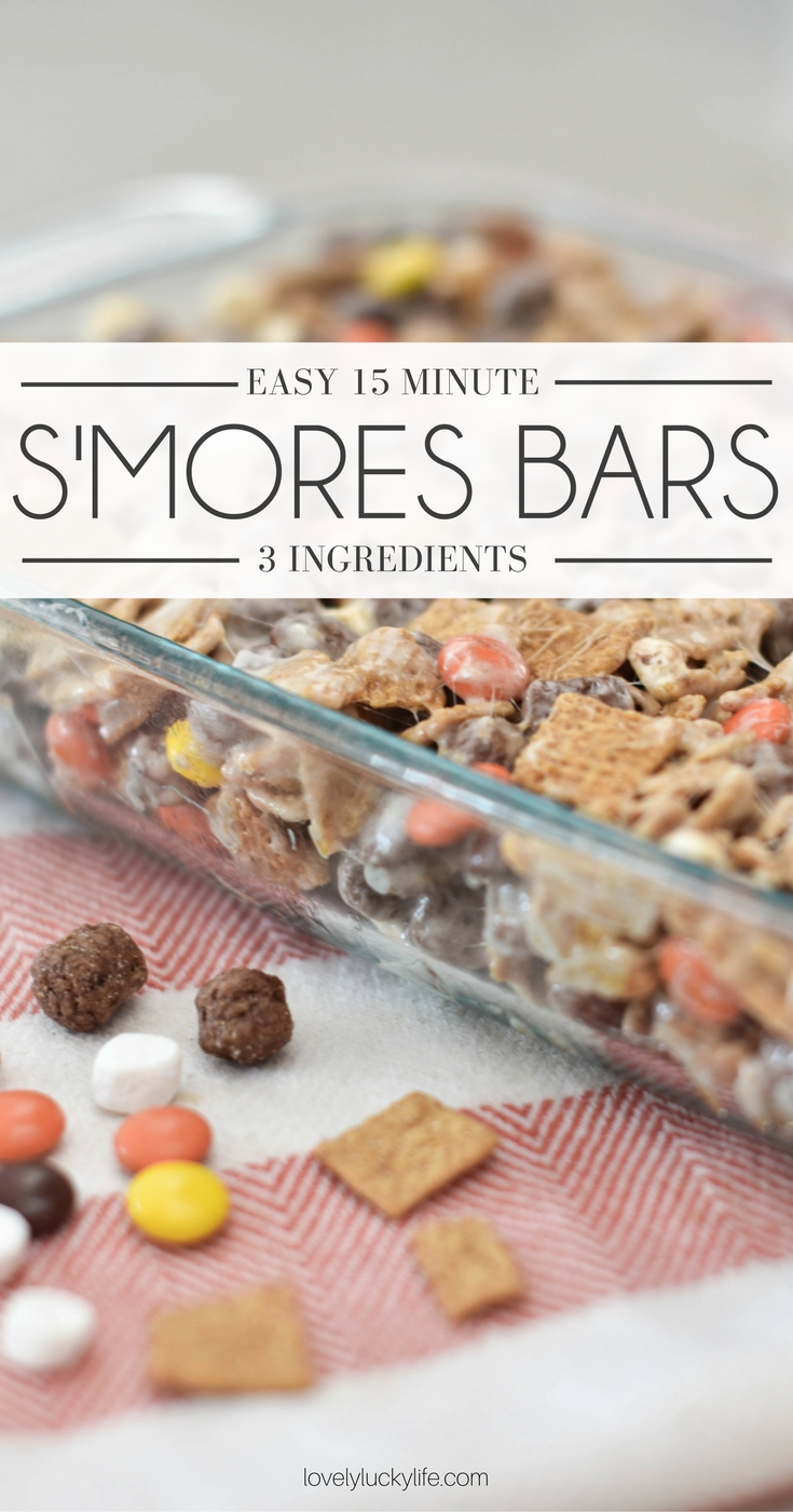 this smores bar recipe is amazing - a dessert ready in 15 minutes and only 3 ingredients!