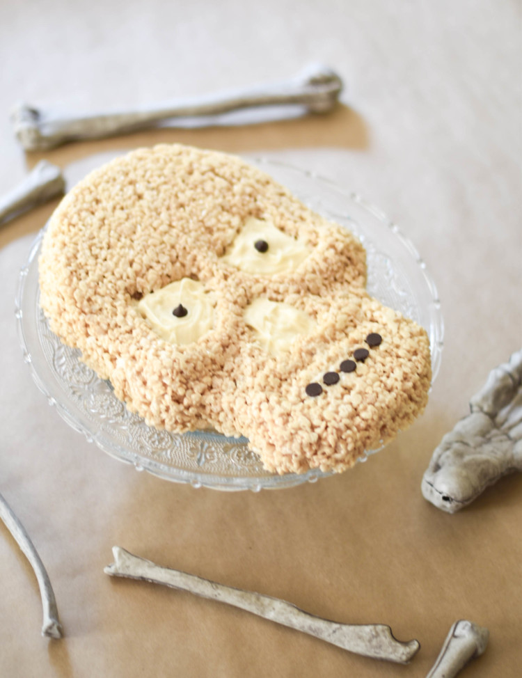 a skeleton cake made from rice crispie treats and melted white chocolate - the ultimate Halloween treat!