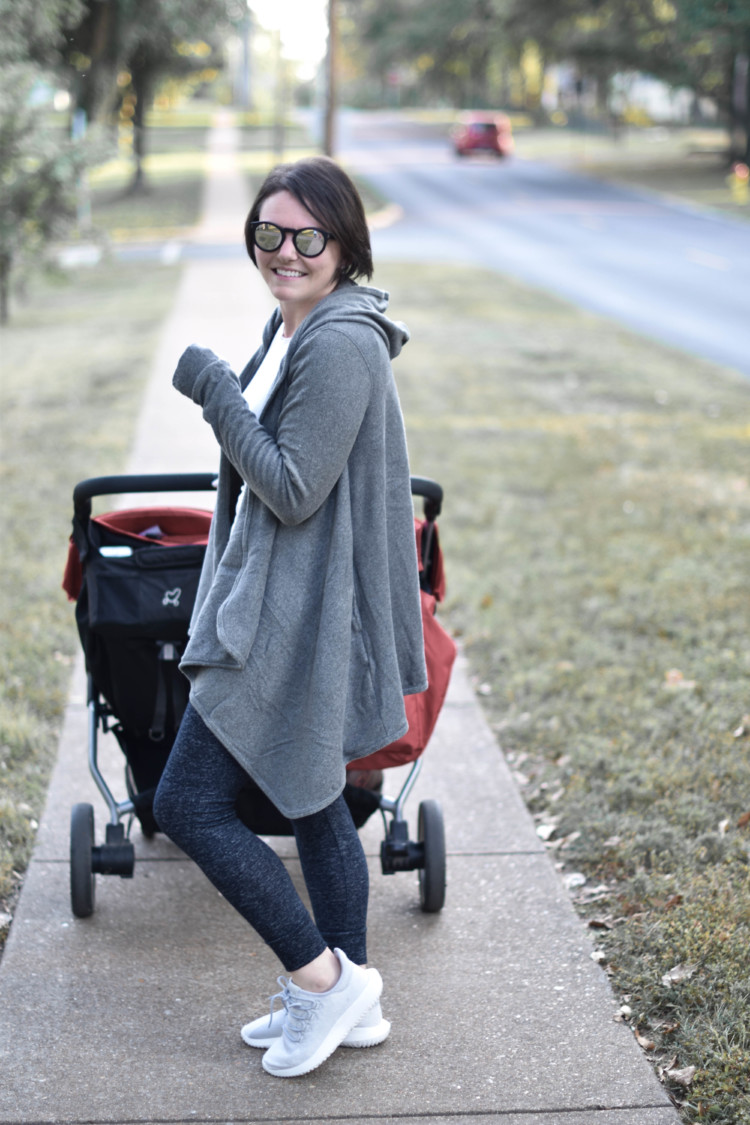 big comfy cardigan - check. double stroller - check. adidas shoes - check. mirrored sunglasses - check. this is the PERFECT school drop off outfit for busy moms who still want to look cute