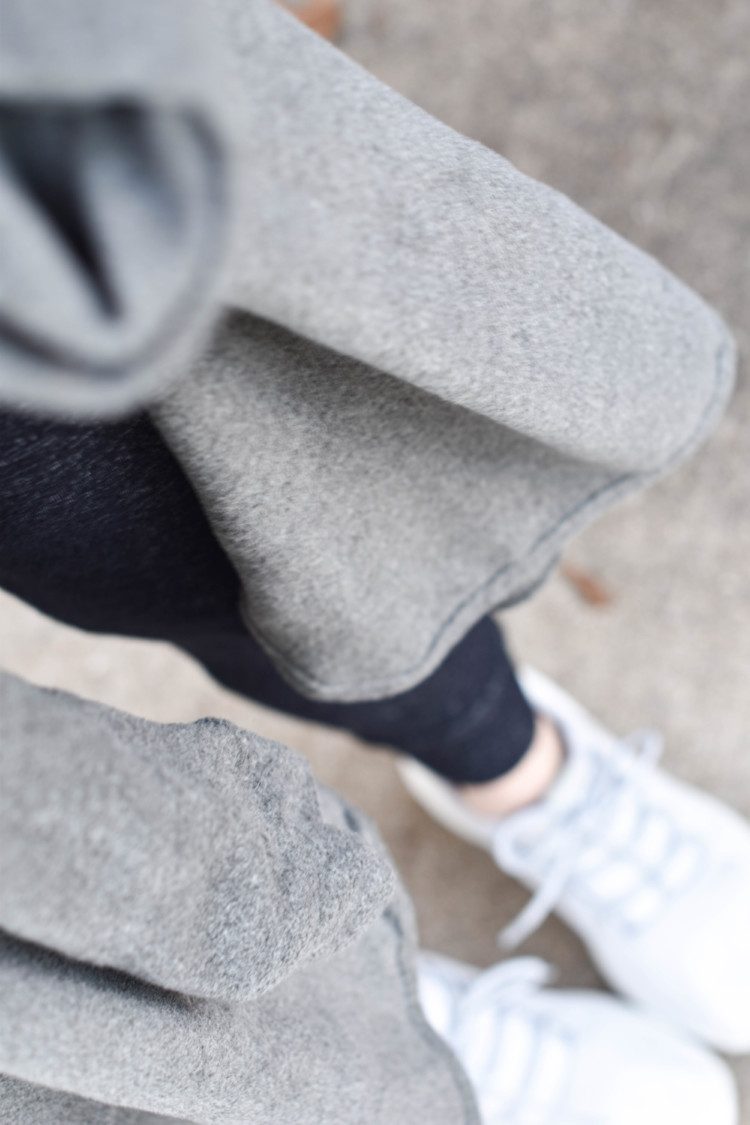 obsessed with layers for fall - a great grey cardigan and charcoal grey space-dye leggings and adidas tubular sneakers - everyday mom style and a great momiform
