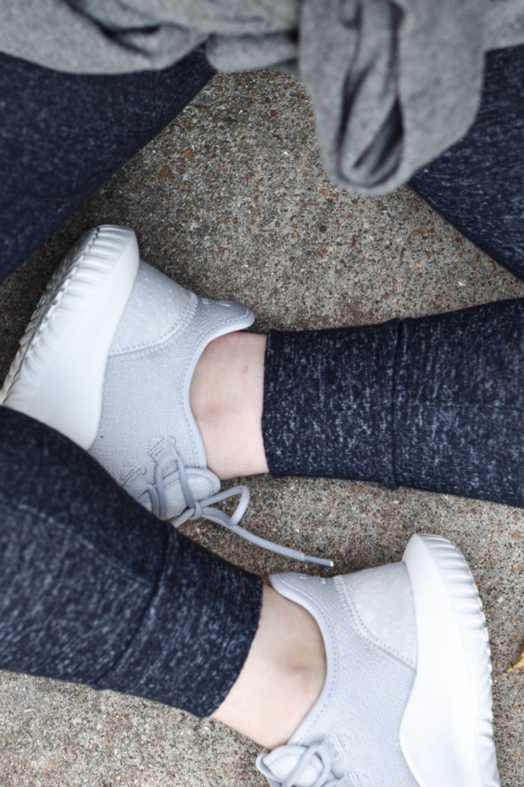 adidas tubular sneakers and leggings - the best fall outfit... love that it's casual and cozy but so cute!