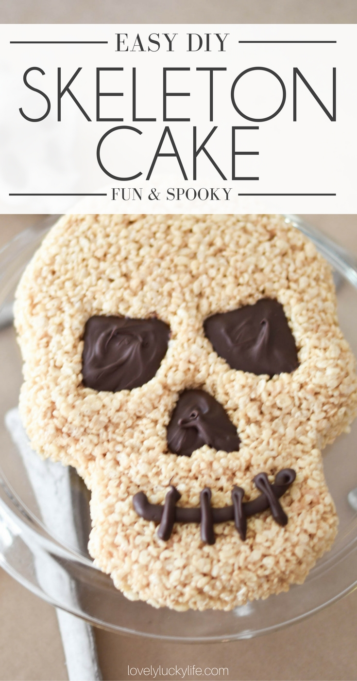 this skeleton cake made from rice krispies is SO cute and easy for any halloween party. the cutest halloween treat ever!