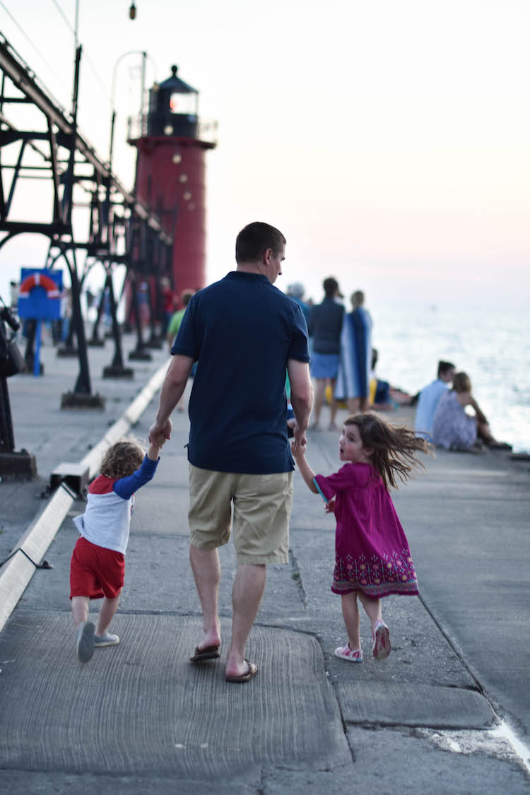 walking the pier on vacation in South Haven, Michigan - a South Haven Michigan travel guide for families