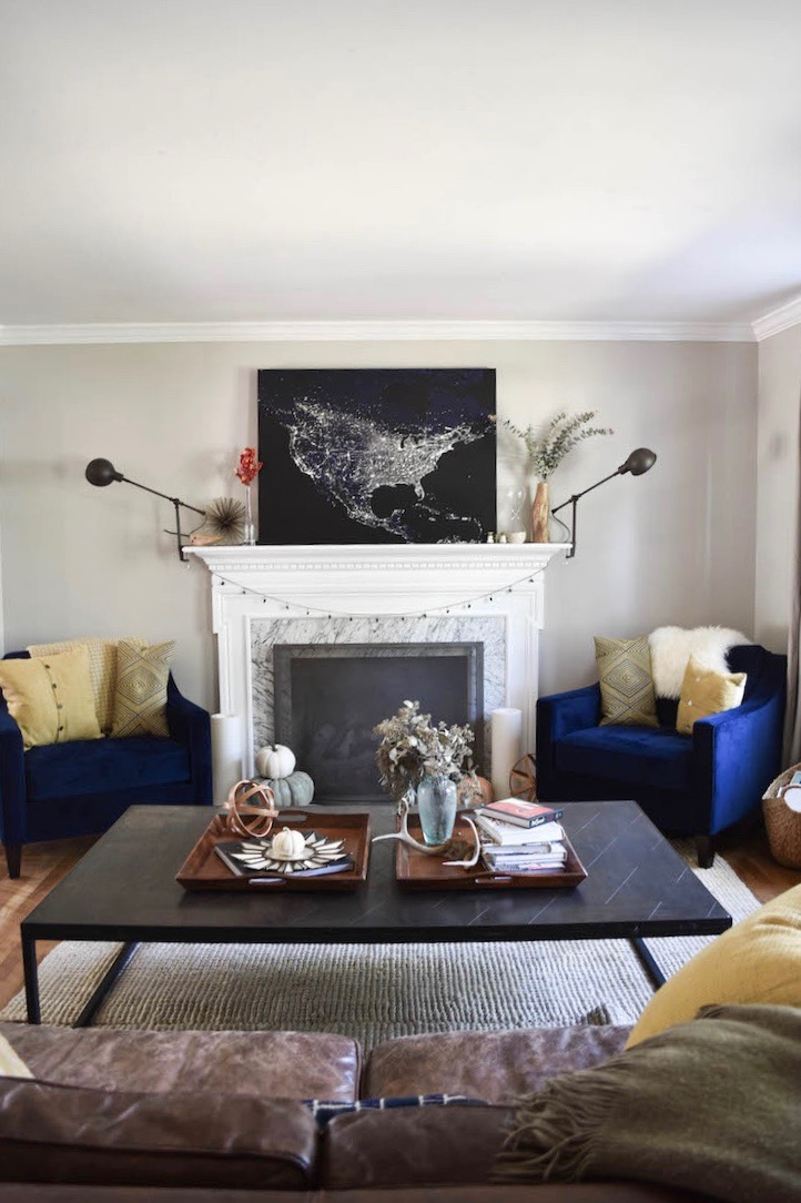 a great family living room - revere pewter on the walls and a great mantle