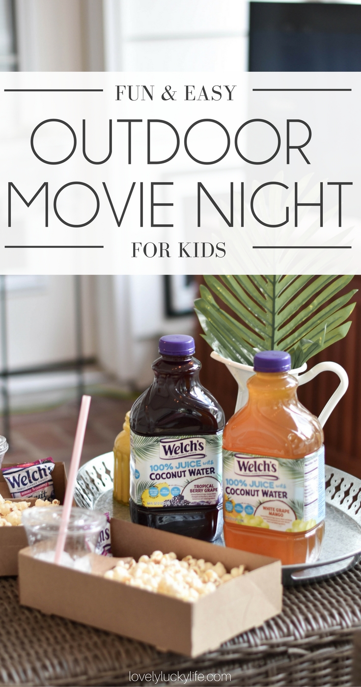how to host an EASY movie night at home for kids - tropical party theme ideas & inspiration