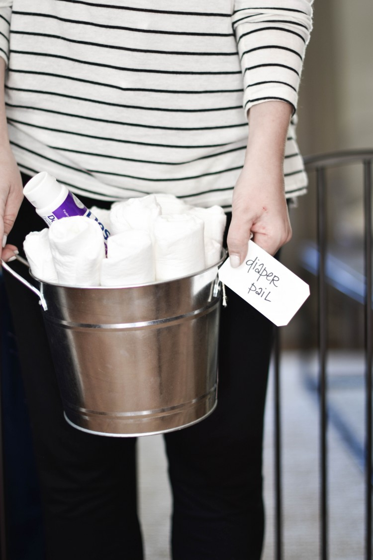 adorable baby gift idea - a diaper pail full of the essentials. so cute instead of doing a baby shower gift basket
