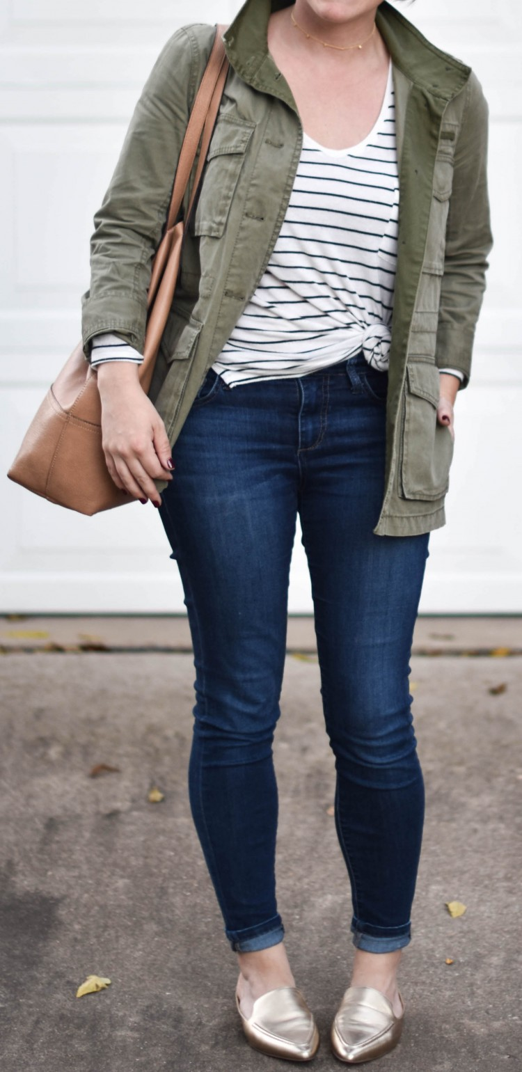 perfect mom uniform - striped shirt and utility jacket with dark jeans and metallic mules