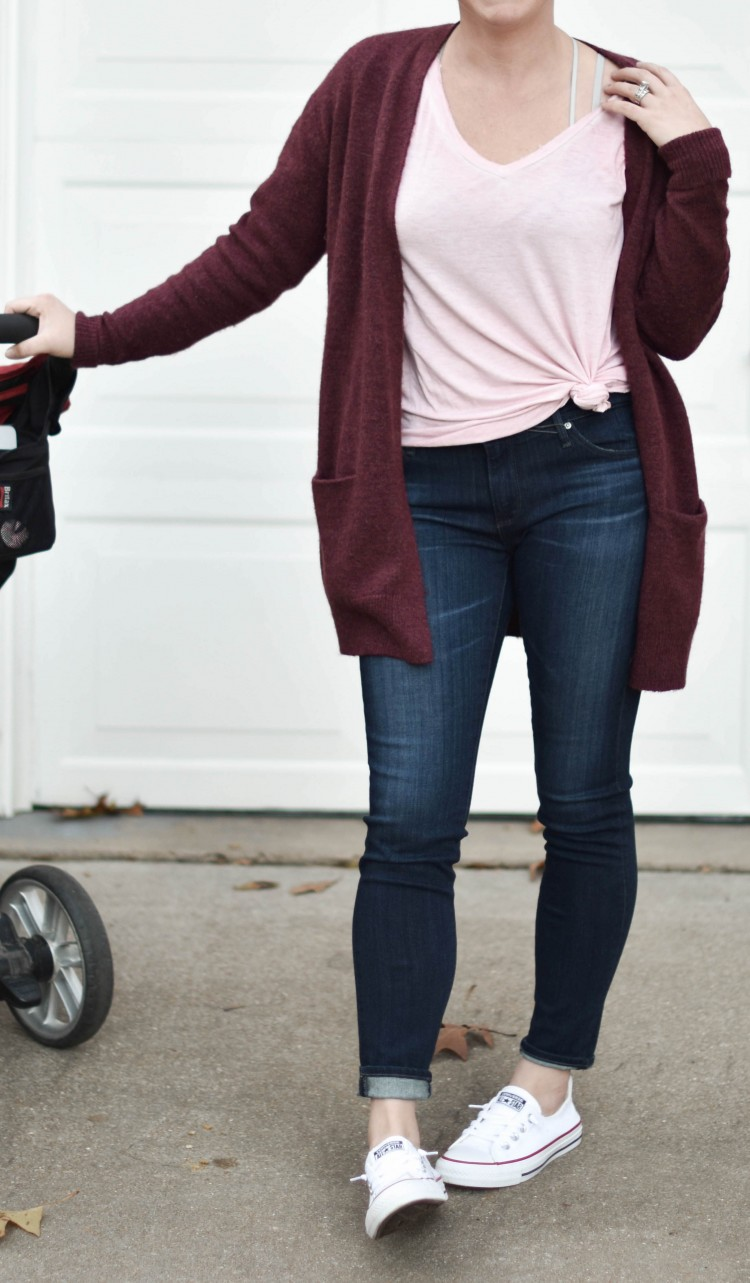 this is the cutest stay at home mom outfit idea - comfy cardigan, dark skinny jeans, white converse, and a knotted blush tshirt. great outfit for running errands! 15 Cardigans Under $50