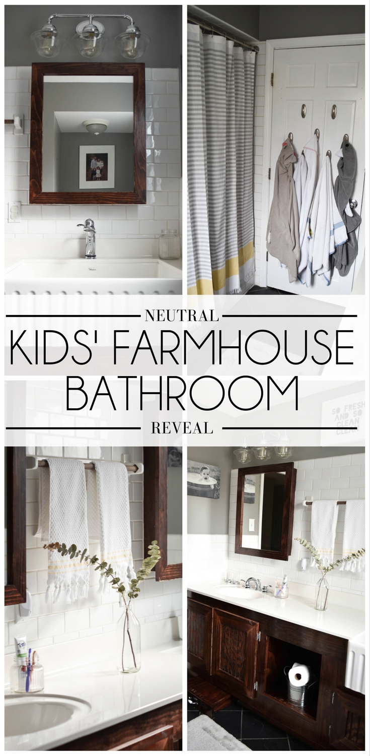 this kids' farmhouse bathroom is so cute! love the farmhouse sink, yellow accents, and wood detailing
