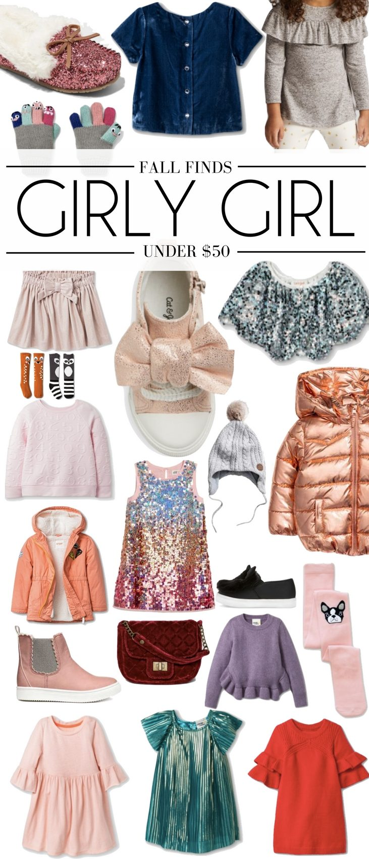 these are the cutest fall clothes for little girls! everything is under $50 and adorable. love the sparkly capelet, rose gold jacket, girly ruffled stuff and fun shoes for girls