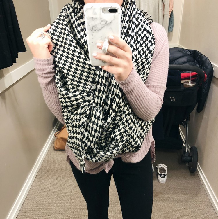 this houndstooth blanket scarf from loft is the coziest!
