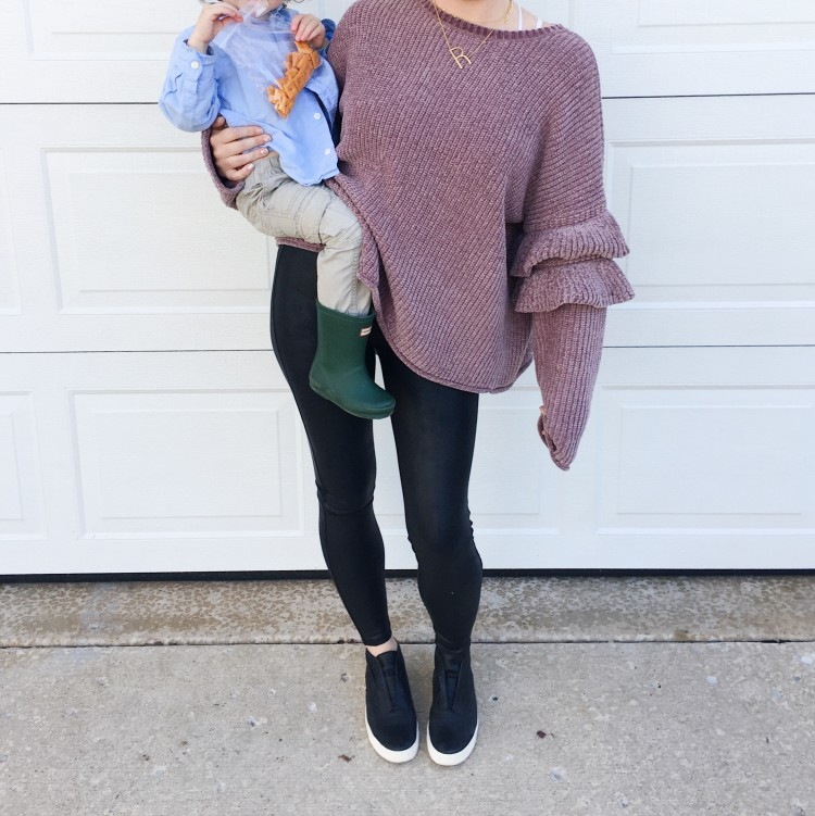 ee969e353e5c76 love the mix of an oversized chenille sweater and faux leather leggings