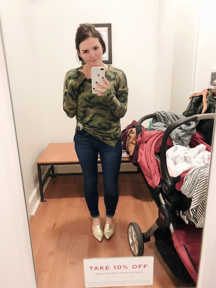 2a53a220 camo pullover from American Eagle - cute drop sleeves, so cozy, and a great