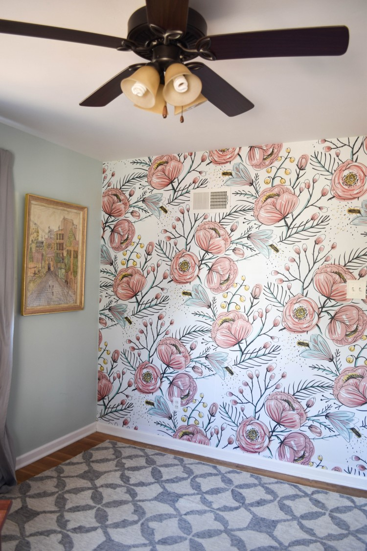 love this floral wallpaper with palladian blue on the walls + see how they redid that ugly ceiling fan