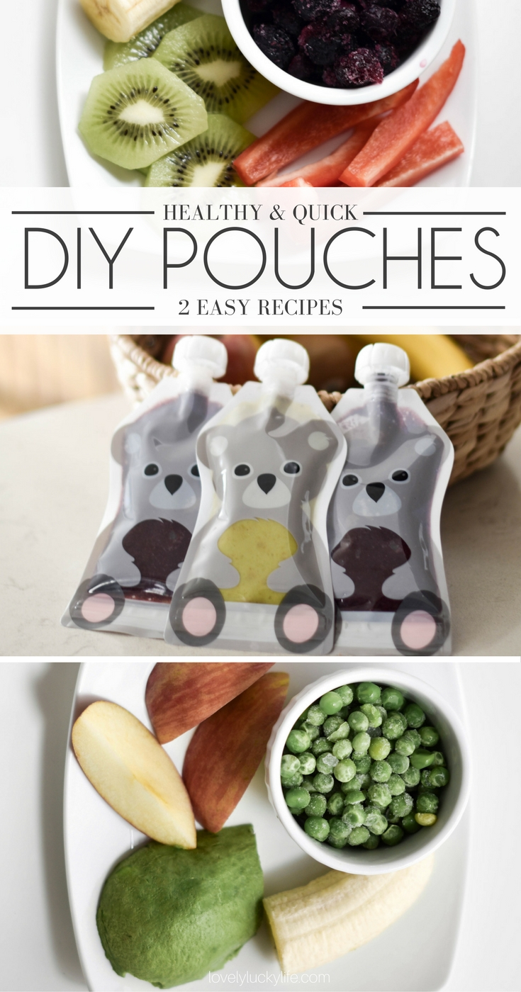 these 2 easy baby food pouch recipes are super nutritious and a great way to get your baby to eat healthy foods like avocado, peas, and berries while out and about. perfect for road trip snacks or a diaper bag snack
