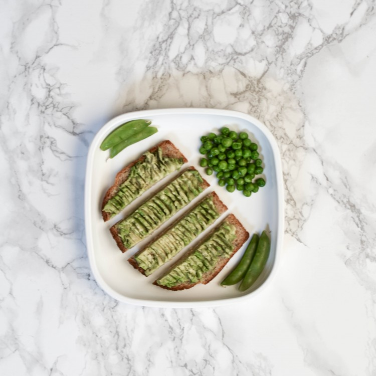 avocado toast slices, peas and sugar snap peas are great for BLW vegetables