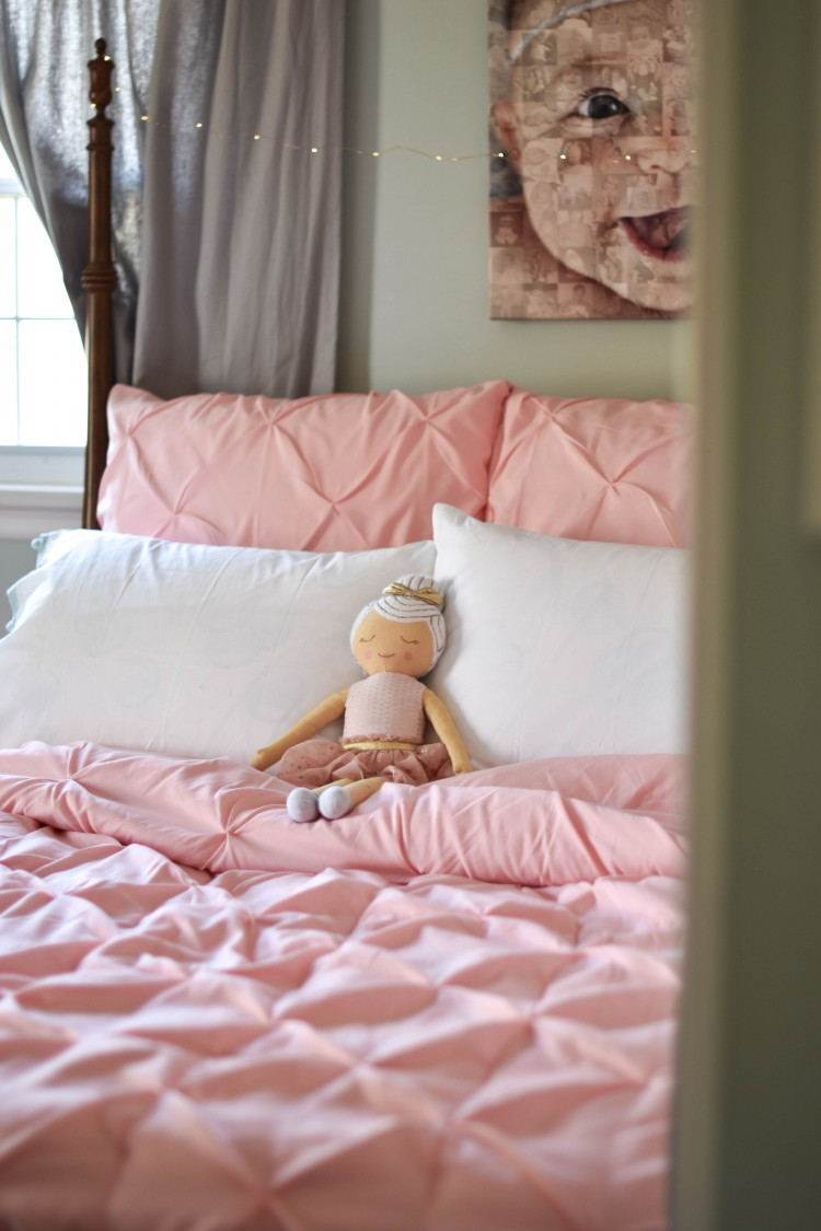 love this sweet pink pintuck comforter and adorable ballerina pillow doll for a girl's room