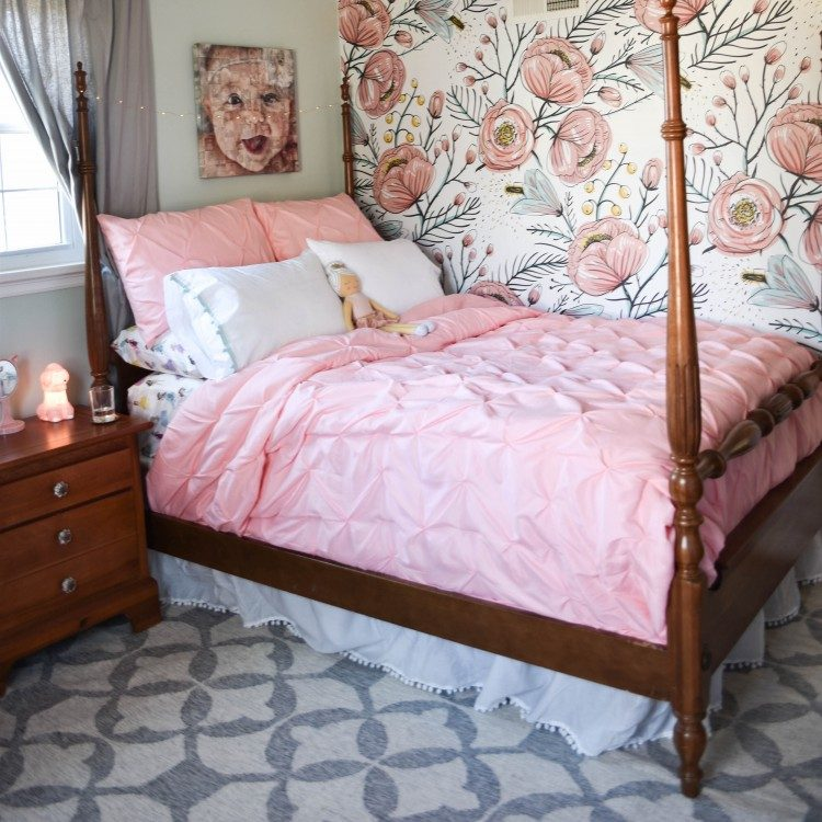 girls blue and pink floral bedroom design